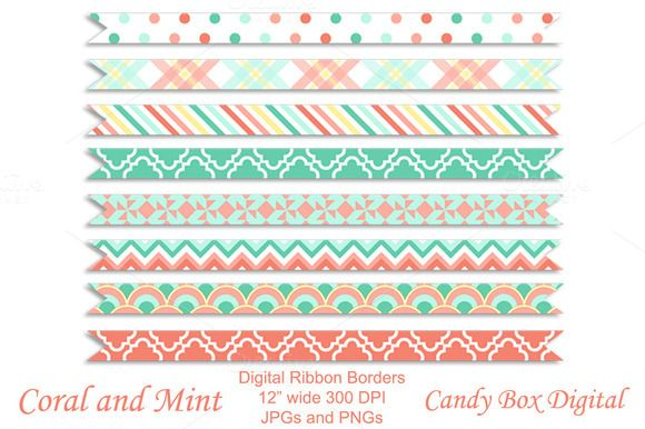 Check out Coral n Mint Ribbon Borders by Candy Box Digital on Creative Market. Great borders for website design, digital scrapbooks and journals, and all kinds of paper crafts.
