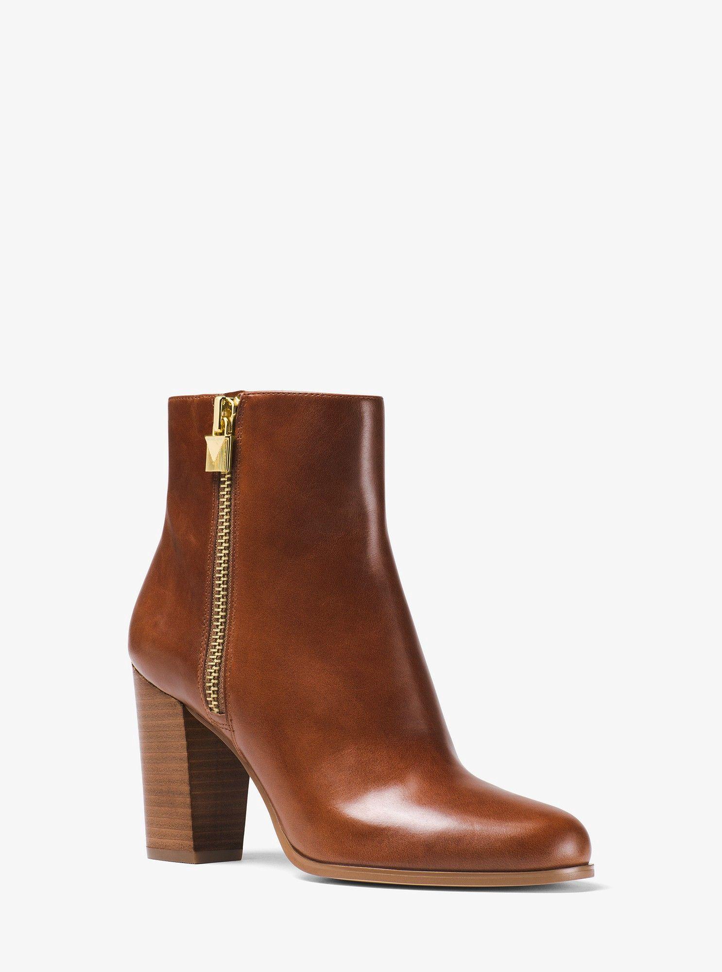 Michael Kors Margaret Leather Ankle Boot Caramel 6