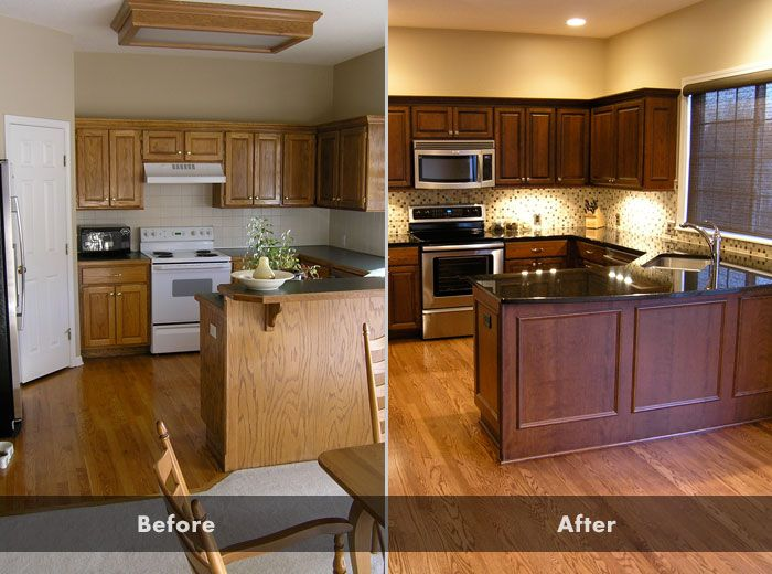 Oak cabinets before and after cost vs value 2013 for Kitchen design kansas city