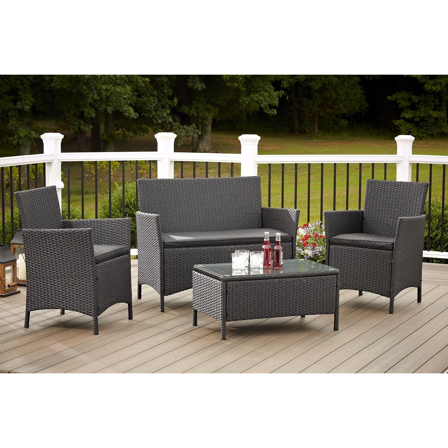 Avenue Greene 4 Piece Resin Wicker Deep Seating Patio