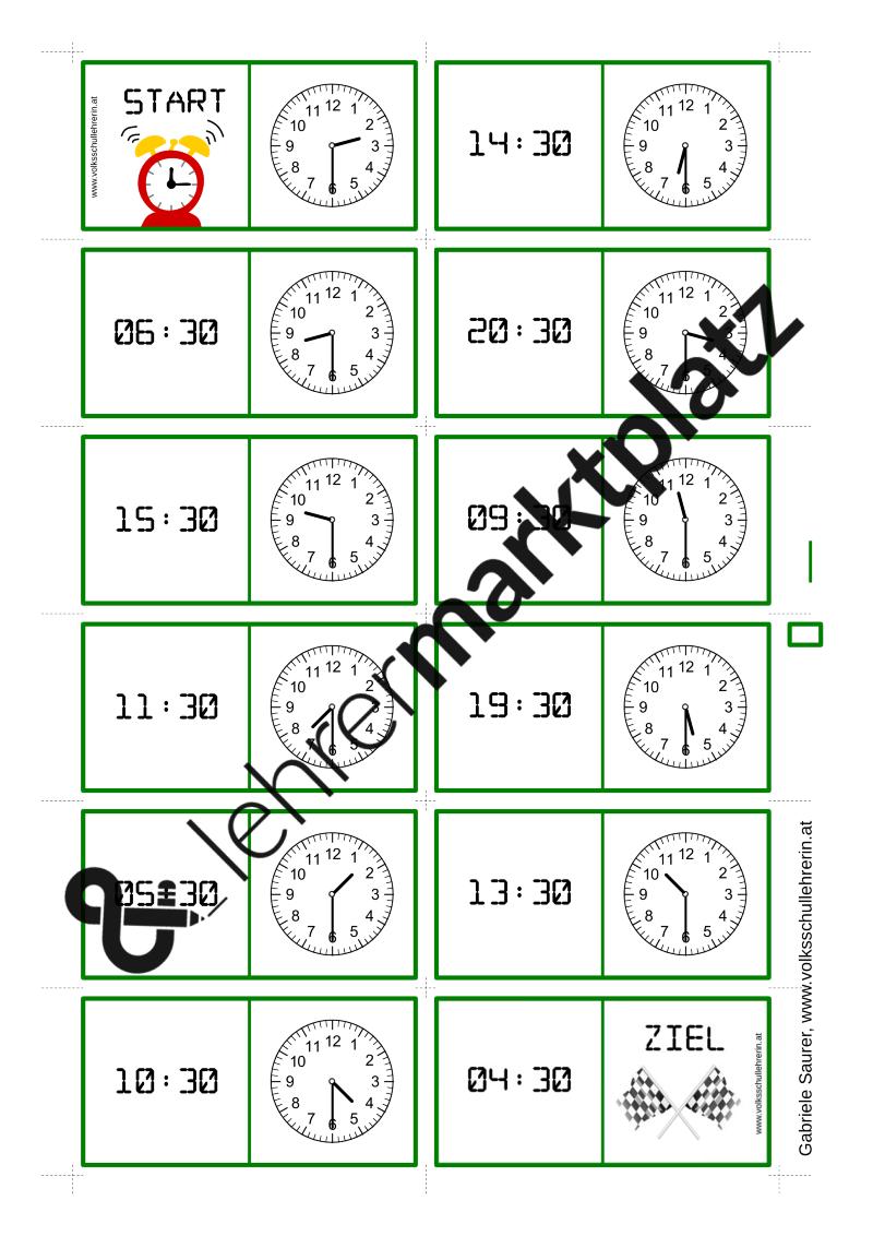 Uhrzeit Domino – Unterrichtsmaterial in den Fächern Mathematik ...