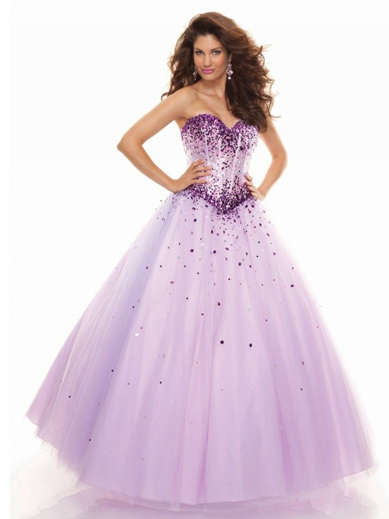 Sweetheart floor length tulle ball gown purple prom dress awesome