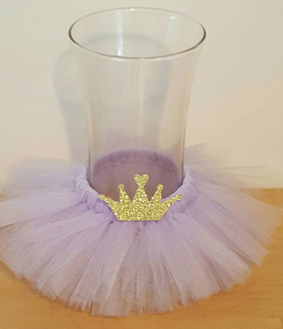 VASE TUTU Princess Party Decoration Centerpiece Crown Birthday Wedding Lavender  Baby Shower Bridal Wine Bottle 16 Ballerina Mason Jar Gold