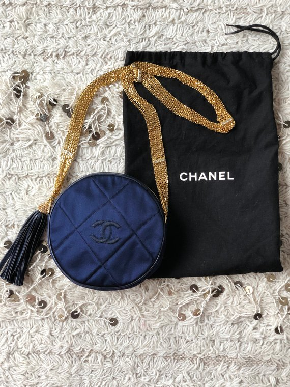 f06f270cfa21 Vintage 90s CHANEL Round Circle CC Navy Blue Satin Quilted Fringe Tassel  Gold Chains Rhinestones Pur