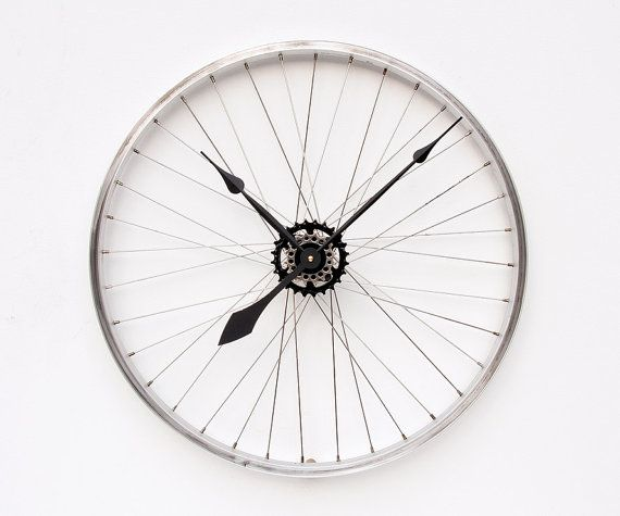 Recycled Bike Wheel clock by pixelthis on Etsy