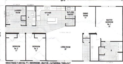 The 6884CT Spring View mobile home floor plan features