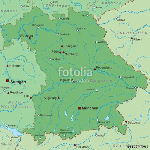 Bundesland Bayern Landkarte In Grun Stockfotos Und Lizenzfreie Vektoren Auf Fotolia Com Bild 112711291 Bundesland Bayern Bayern Landkarte