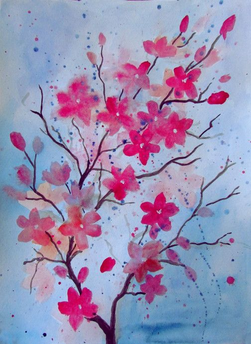 Cherry Blossom Watercolor Painting Two Great Versions Of A Using Paints Step By Instructions With Pictures