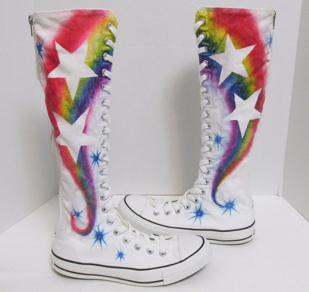 CONVERSE All Star Chuck Taylor Knee High Rainbow Star Boot White Mens 6  Womens 8  Converse  Athletic  Pride 0e3d91cc5