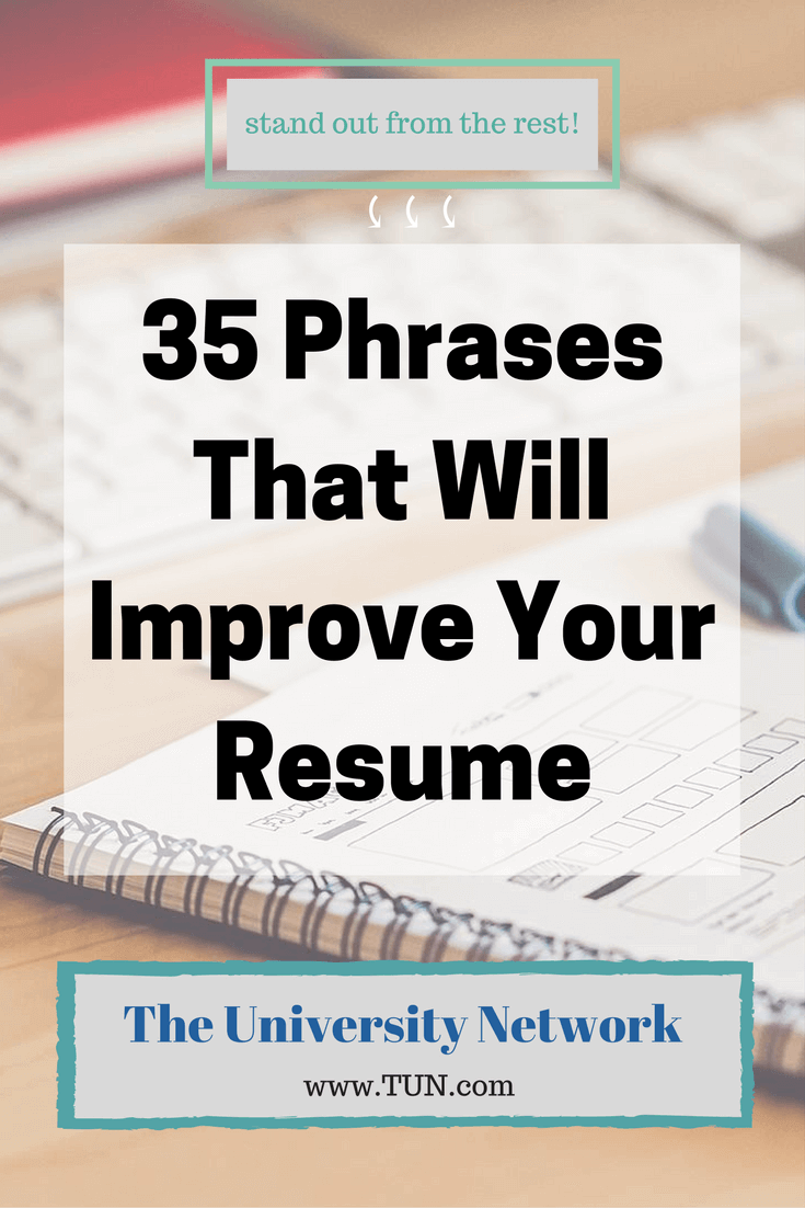 35 Phrases That Will Improve Your Resume | College, Business and Job ...