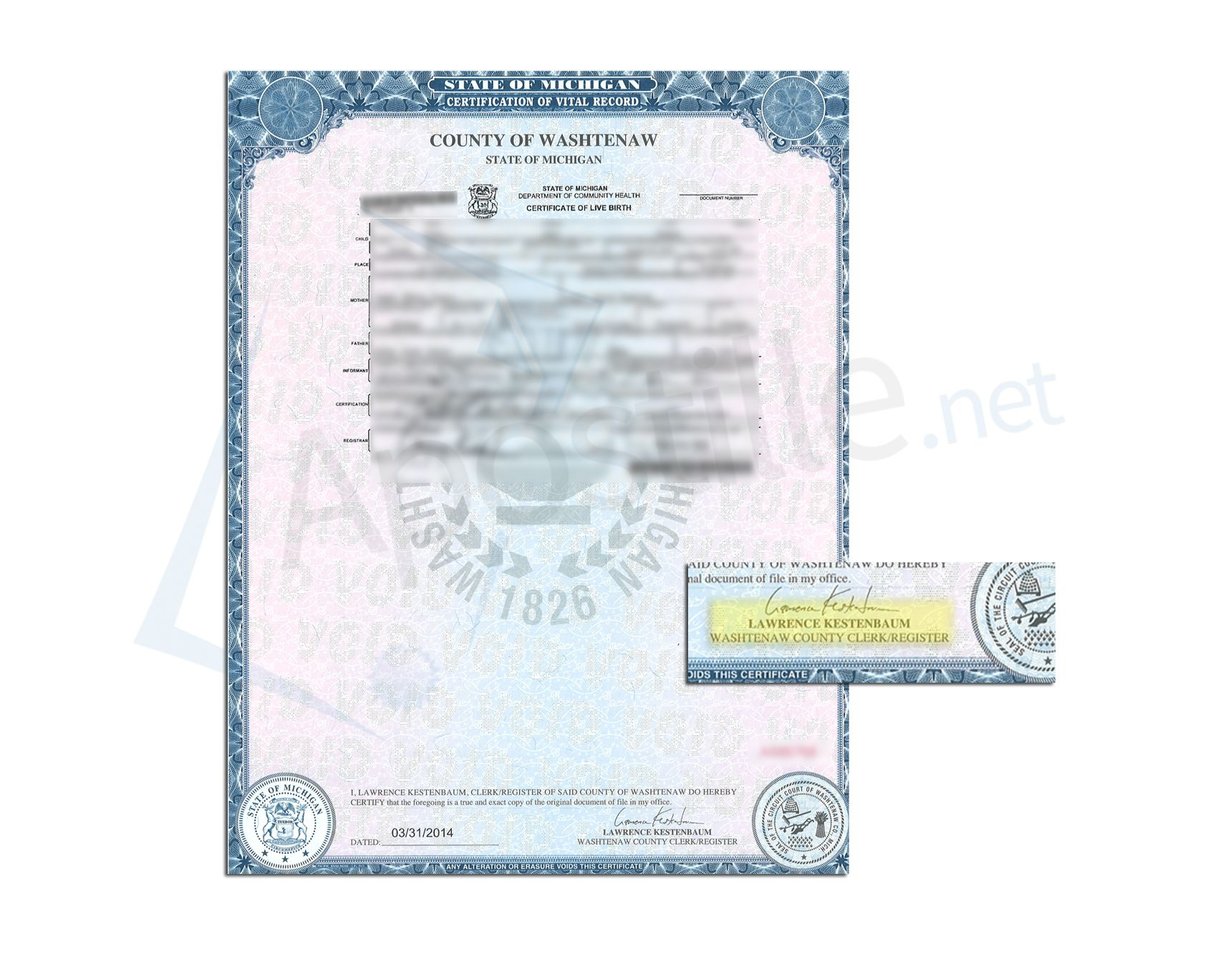 County of Washtenaw State of Michigan Birth Certificate Signed by ...