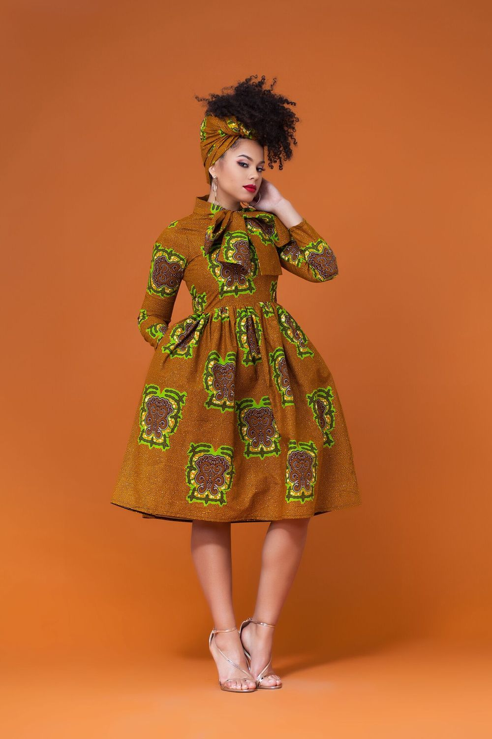 a5e5bd4cee53 African Print Pikine Midi Dress Grass-fields  Effortlessly stylish and  wonderfully endearing,