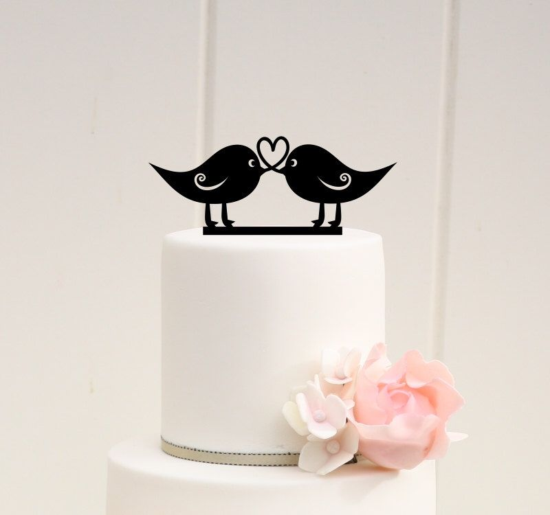 Love Birds Wedding Cake Topper Heart Design Rustic By ThePinkOwlDesigns On Etsy