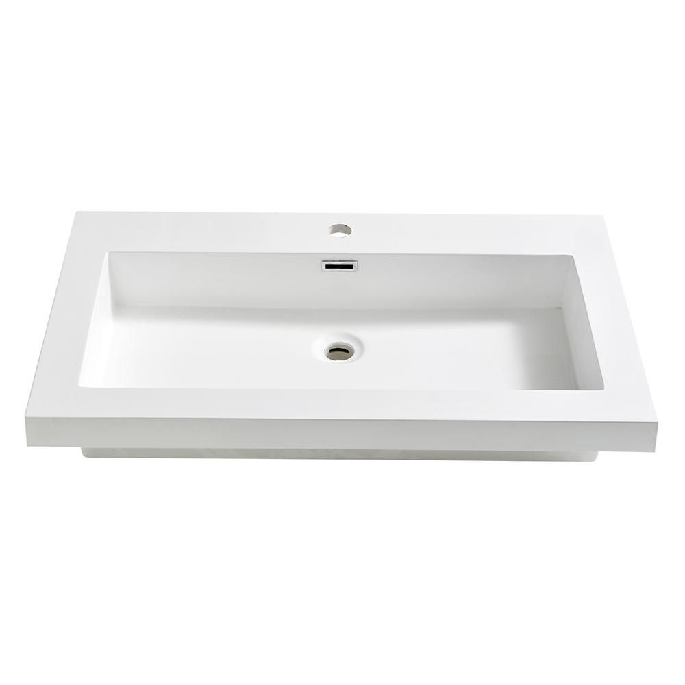 Fresca Medio 32 In Drop In Acrylic Bathroom Sink In White With