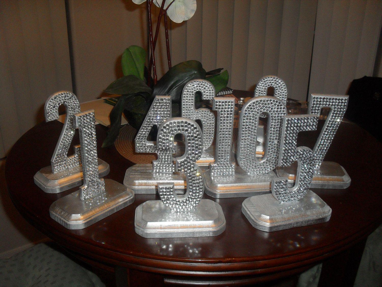 Bling Crystal Rhinestone Wedding Reception Table Numbers | Pinterest ...
