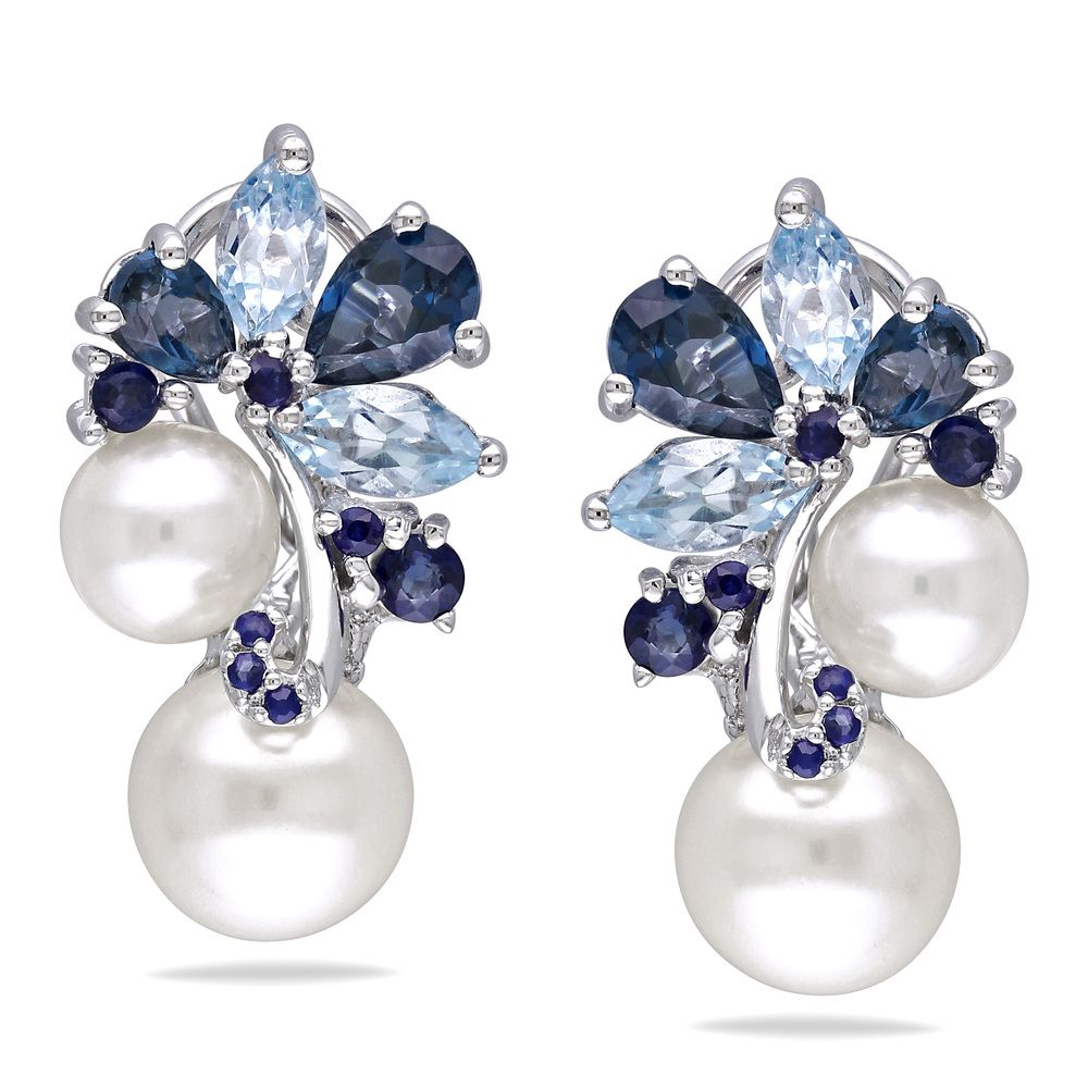Miadora Sterling Silver Pearl Blue Topaz And Shire Earrings Ping Top Rated