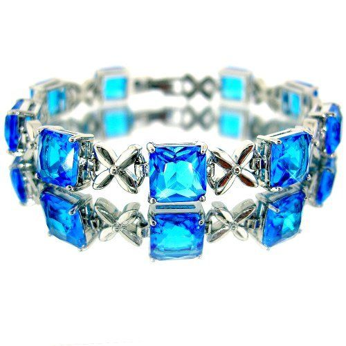 Fabulous Princess Cut White Gold Plated Silver Simulated Aquamarine Bracelet BC294 myCullinan. $31.99. 100%Customer Satisfaction Guarantee. Save shipping. 1 dollar shipping for each additional item. Good affordable price. Best value for money. Come with FREE Elegant Ribbon Royal Purple Gift Box. Photo of actual item. Sophisticated Design and Superior Quality