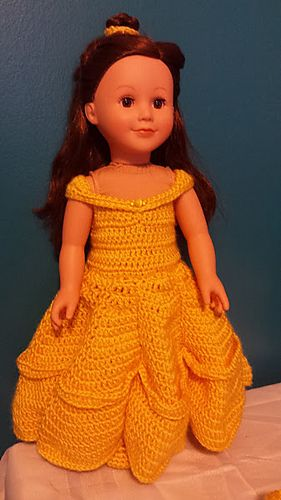 This pattern is a Belle Doll costume for 18 inch Dolls. The pattern is written for Modern Girl Dolls by Creatology and carried by Michael's. There are alteration suggestions in the pattern to alter the design to fit other 18 inch doll brands as not all of them have the same proportions. #dollcostume
