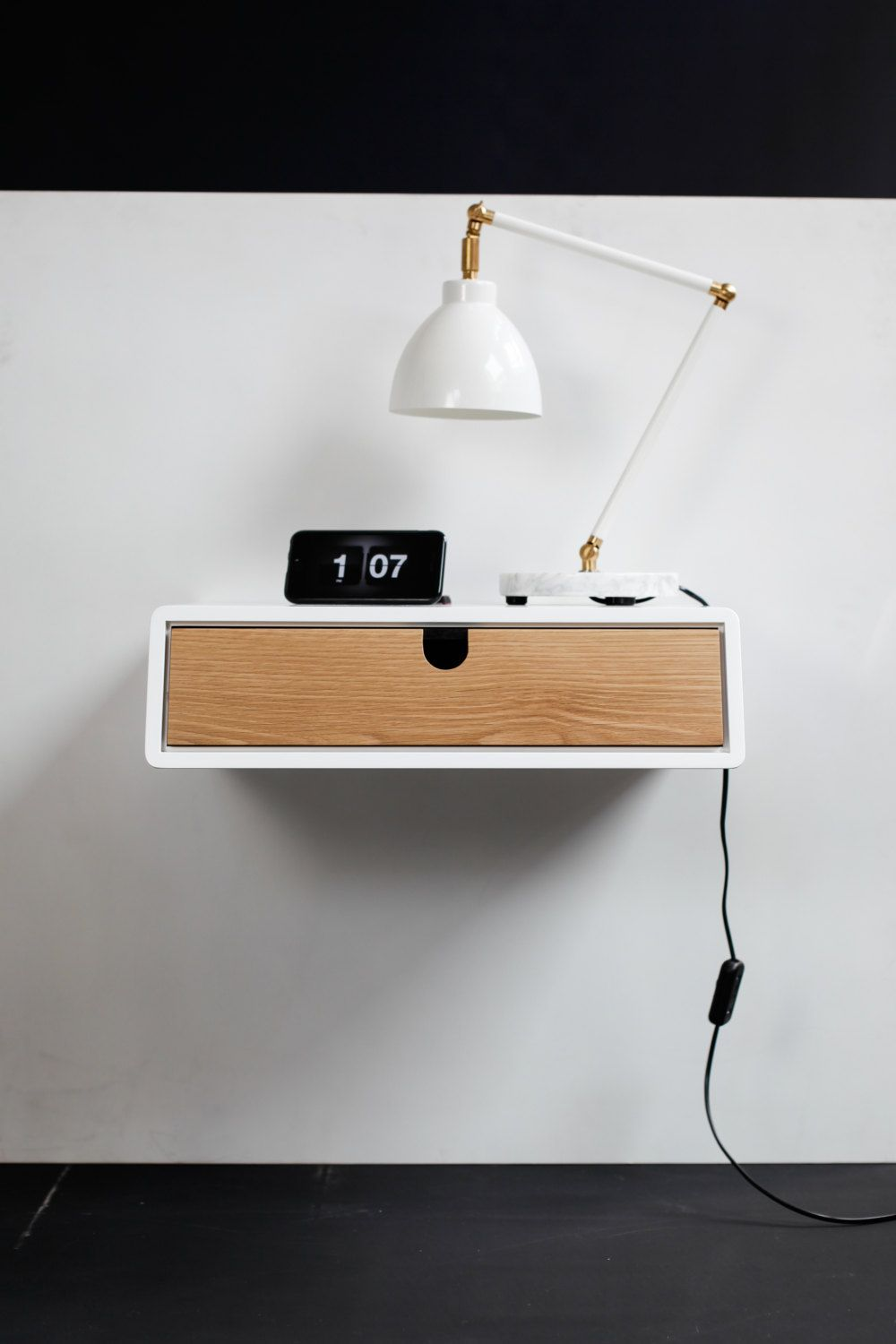 floating white nightstand / bedside table / drawer, scandinavian