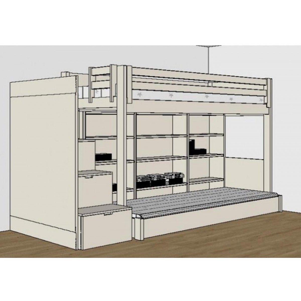 chambre complete pour enfants ados avec lit mezzanine  bureau et rangements asoral asoral