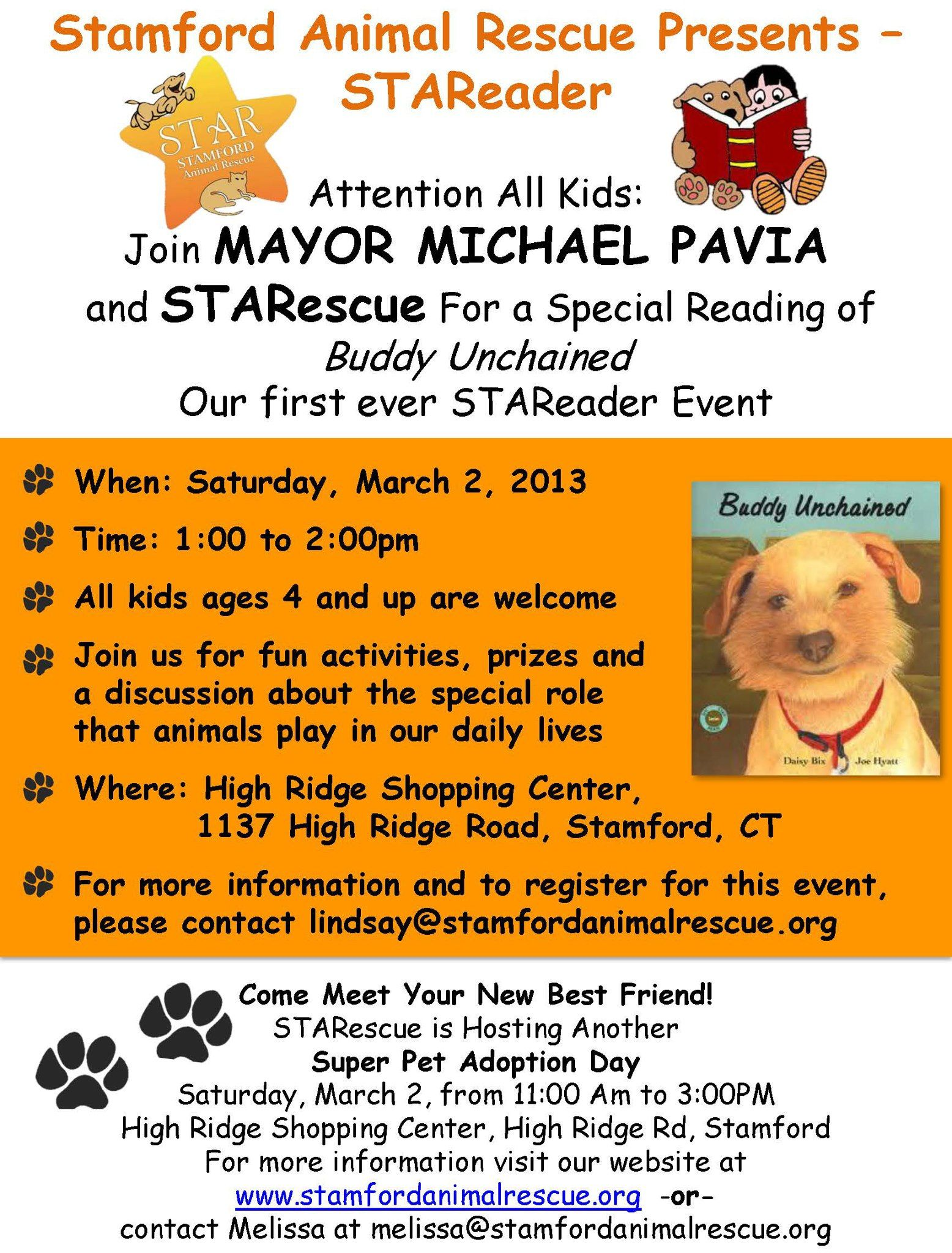 Join Us For The Stareader Program At The 1st Adoption Event Of The Year Event Animal Rescue Pavia