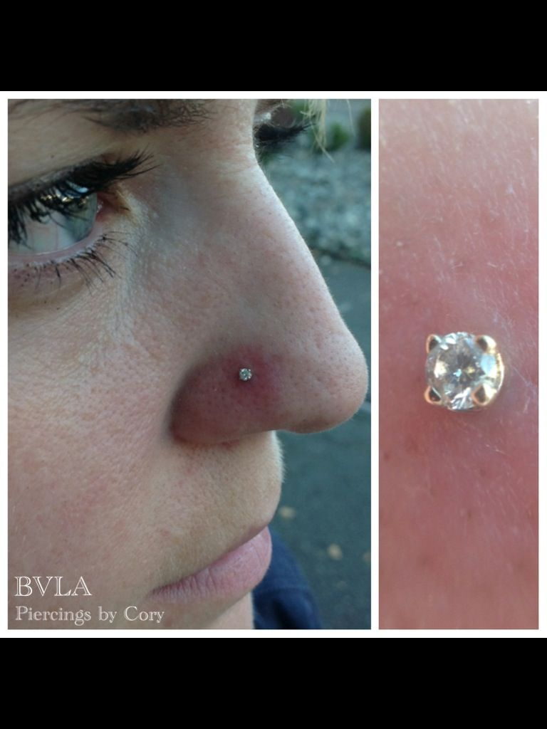 Nose piercing day 3  Nostril piercing with a genuine diamond prong set in  karat solid