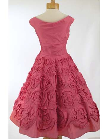 50'S Ceil Chapman Rose Pink Silk Party Dress Back