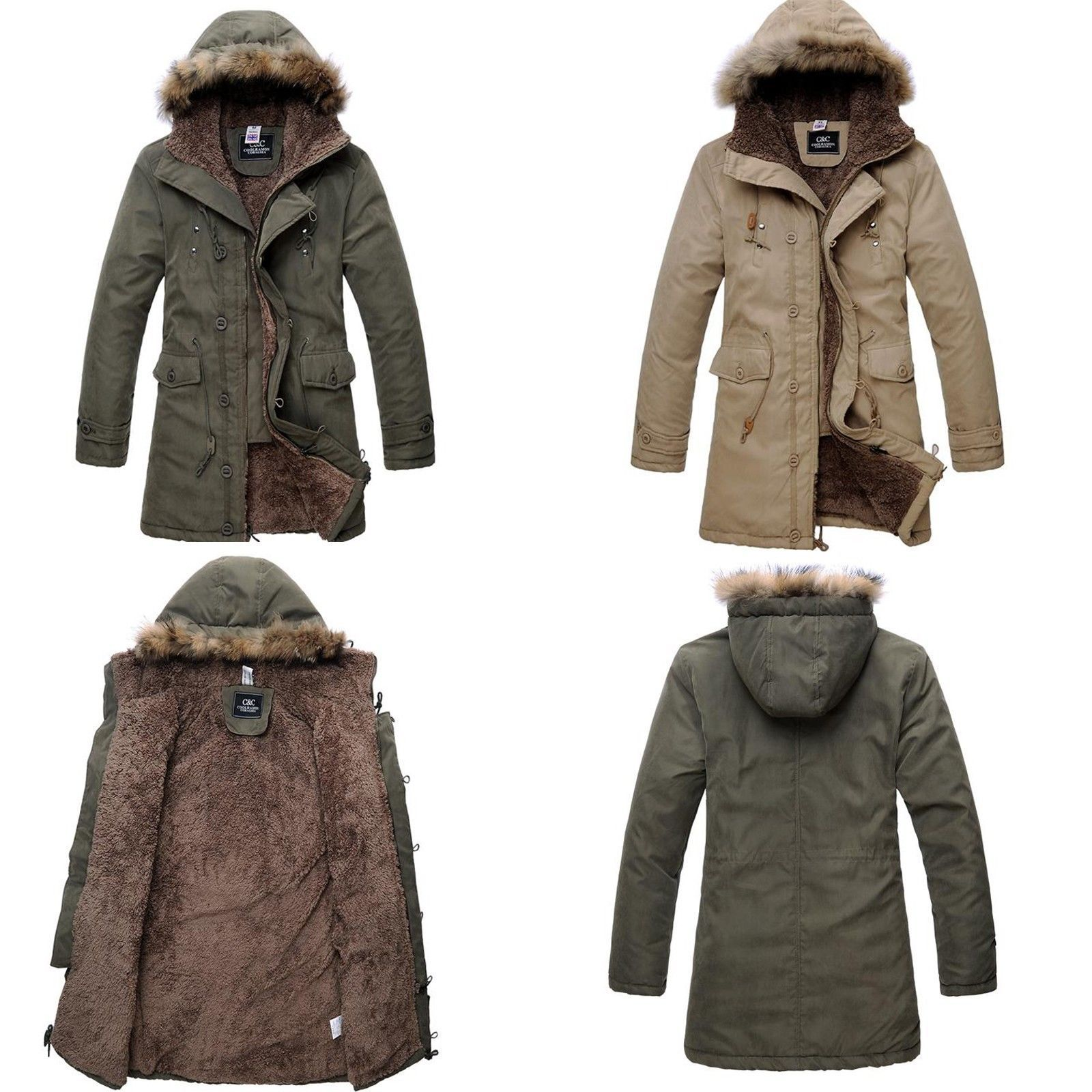Men's Military Hooded Fur Collar Winter Warm Long Coat Jackets ...