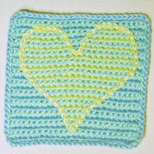 Blue Yellow and Green Baby Afghan Square With Striped Heart Motif