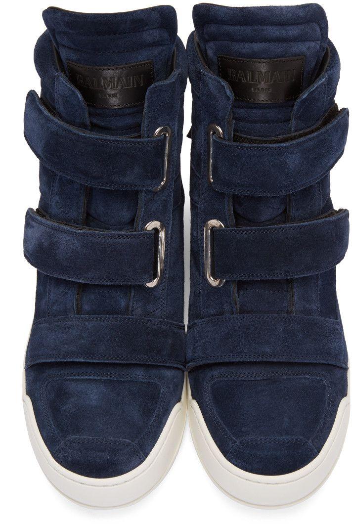e549e234e7 Balmain - Navy Suede Velcro High-Top Sneakers | Shoe Style | Shoes ...