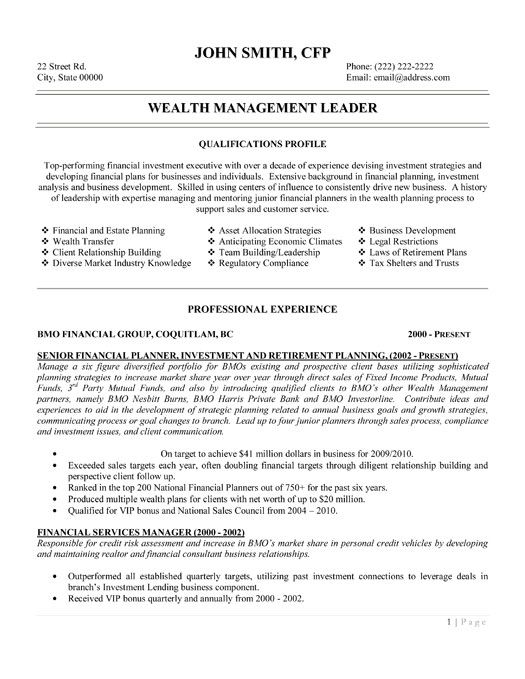 A professional resume template for a Vice President of Finance - wealth manager sample resume