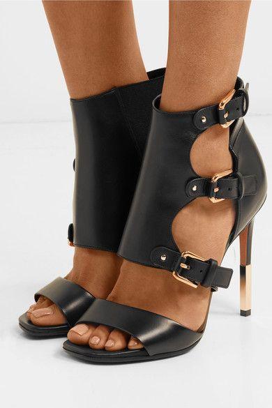 442a94f11137 Balmain - Alienor Buckled Leather Sandals - Black
