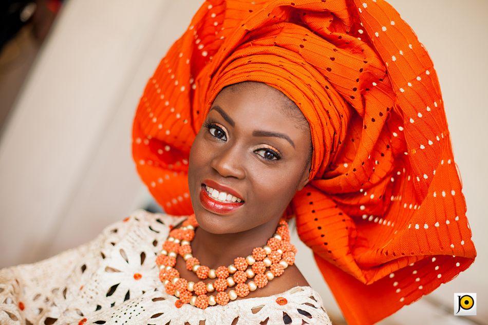Orange And Champagne Traditional Nigerian Wedding
