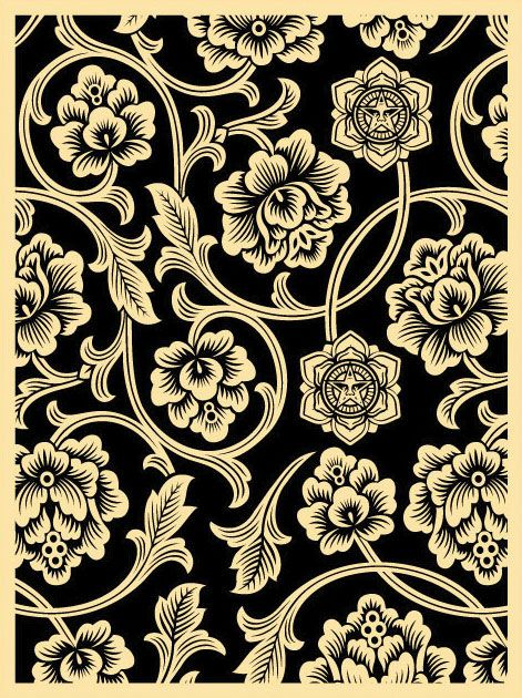 Flower Vine Wallpaper Shepard Fairey Obey Art Obey Wallpaper