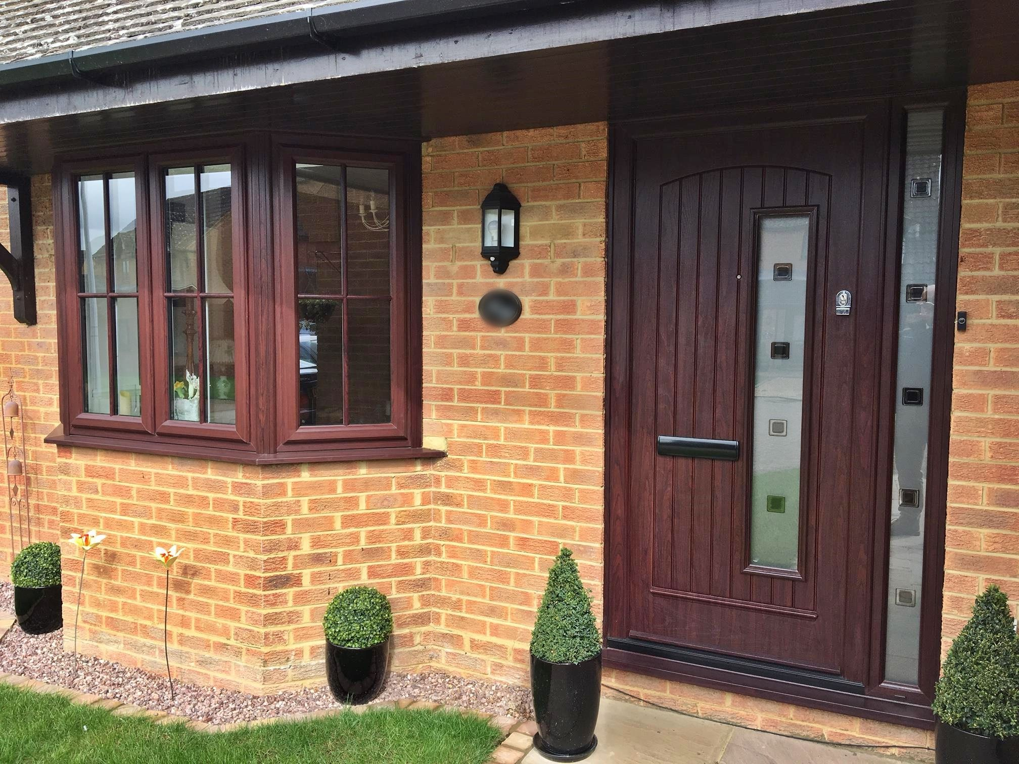 Rosewood composite front entrance door and rosewood upvc frame A rated windows supplied and installed by & Rosewood composite front entrance door and rosewood upvc frame A ...