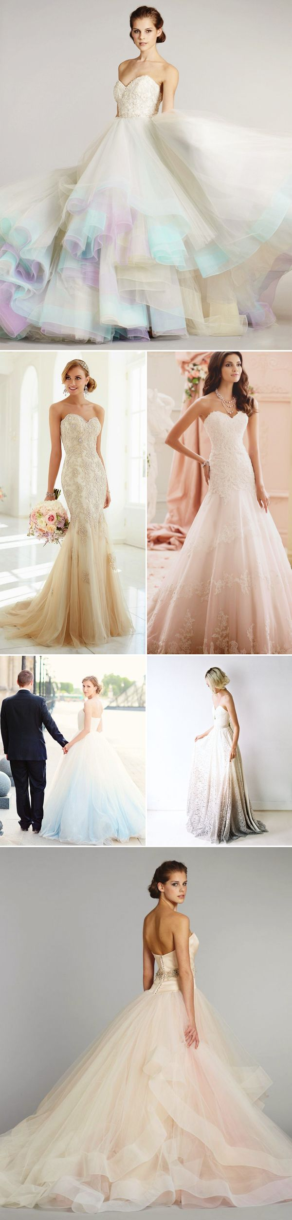 "cf043fd4124 Most Romantic Bridal Trend! 22 ""Barely Colorful"" Wedding dresses with a  Touch of Color! Colors at the bottom"