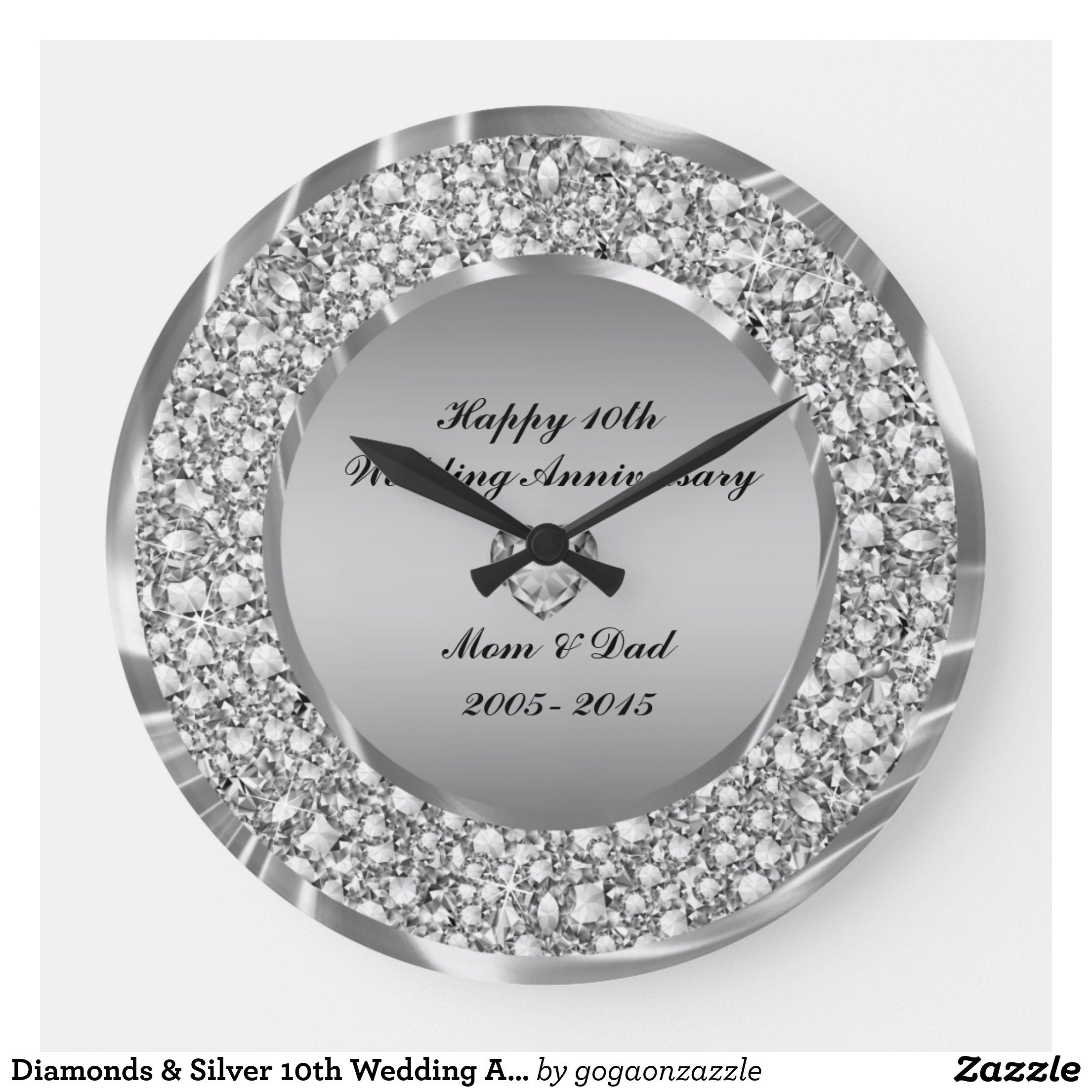 Diamonds & Silver 10th Wedding Anniversary Large Clock