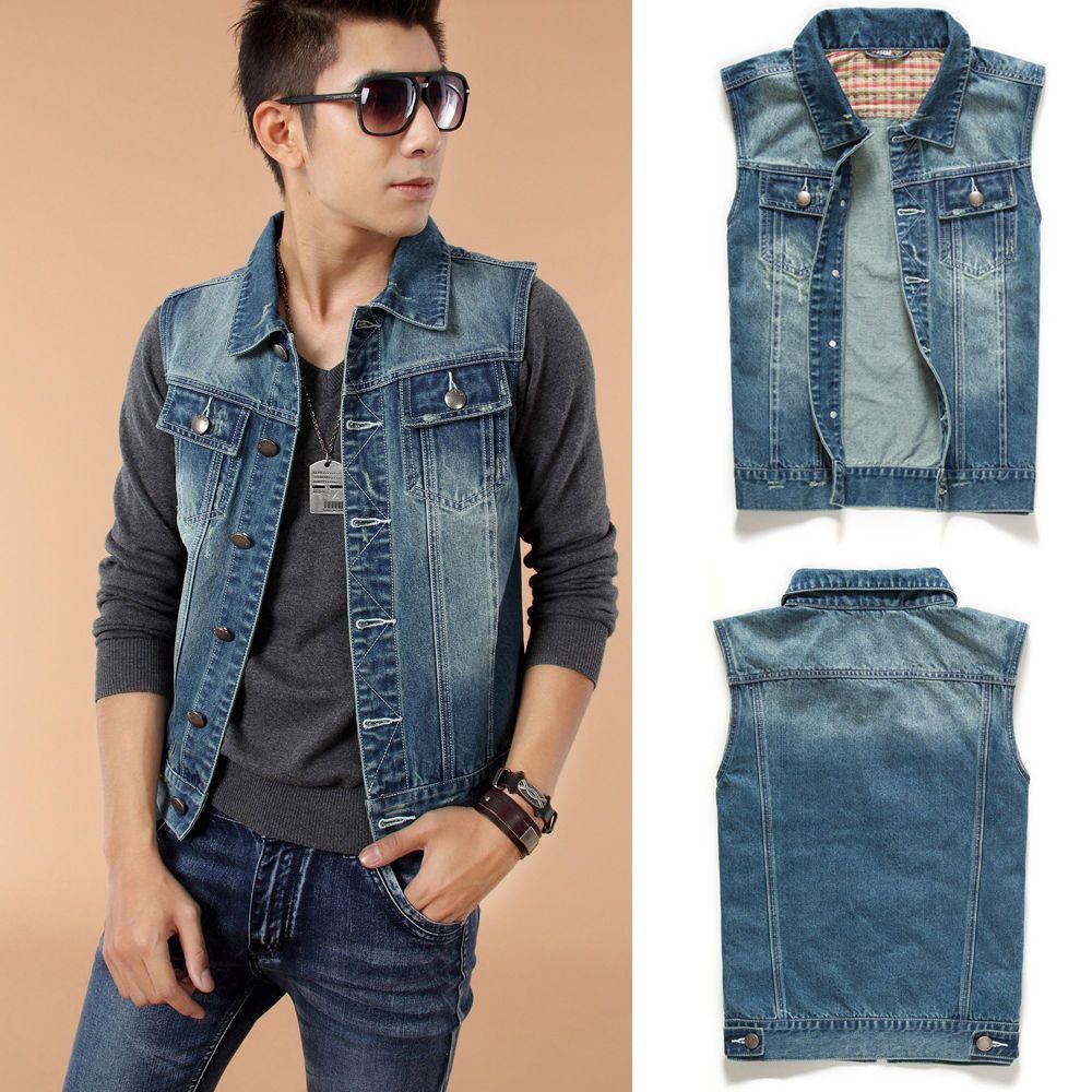 Stylish Mens Cool Motorcycle Denim Vest Casual Sleeveless Jeans Jacket Waistcoat Denim Vest Sleeveless Jean Jackets Casual Vest [ 1000 x 1000 Pixel ]
