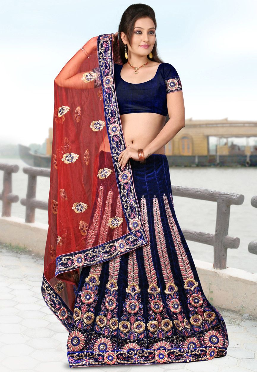 Velvet saree images royal blue and red net and velvet lehenga style saree with blouse