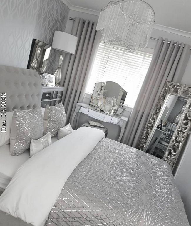 Pin By Kaki Bulbul On Our New Room Ideas Silver Bedroom Decor Comfortable Bedroom Silver Bedroom