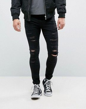 Shop New Look Extreme Super Skinny Jeans With Rips In Black at ASOS.