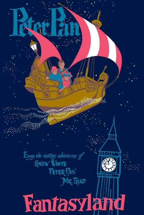 Disneyland Poster Vintage Peter Pan Fantasyland Attraction Poster