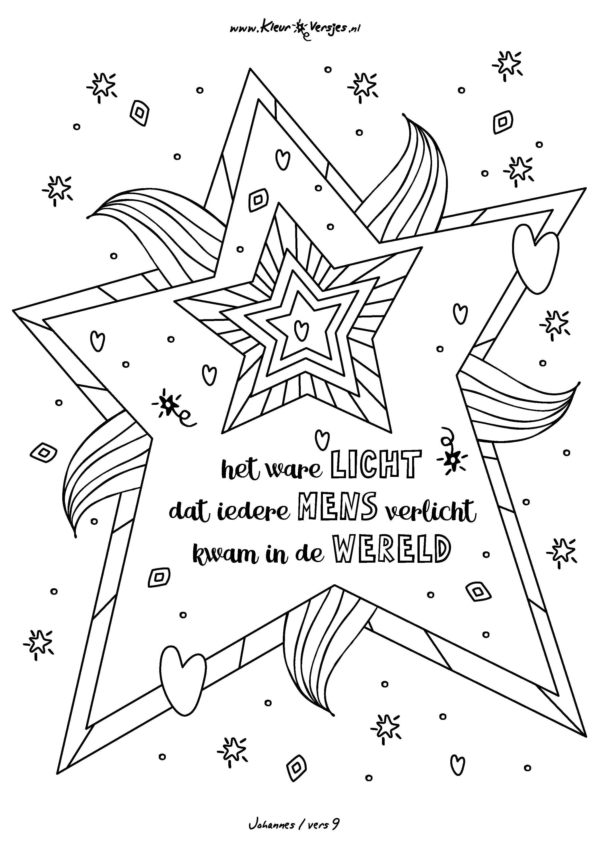 028 Het Ware Licht Dat Ieder Mens Verlicht Kleurversjes Nl Christelijke Knutsels Christelijke Kerst Kerstwerkbladen