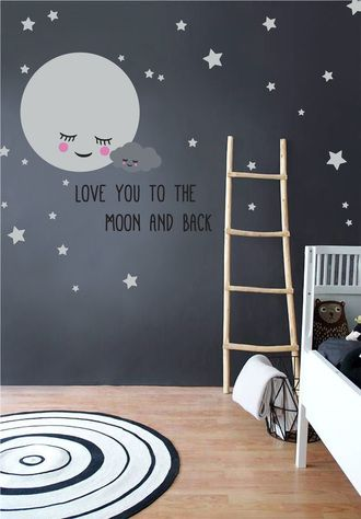 Moon Stars Nursery Wall Decals With Removable Cute Baby Cloud