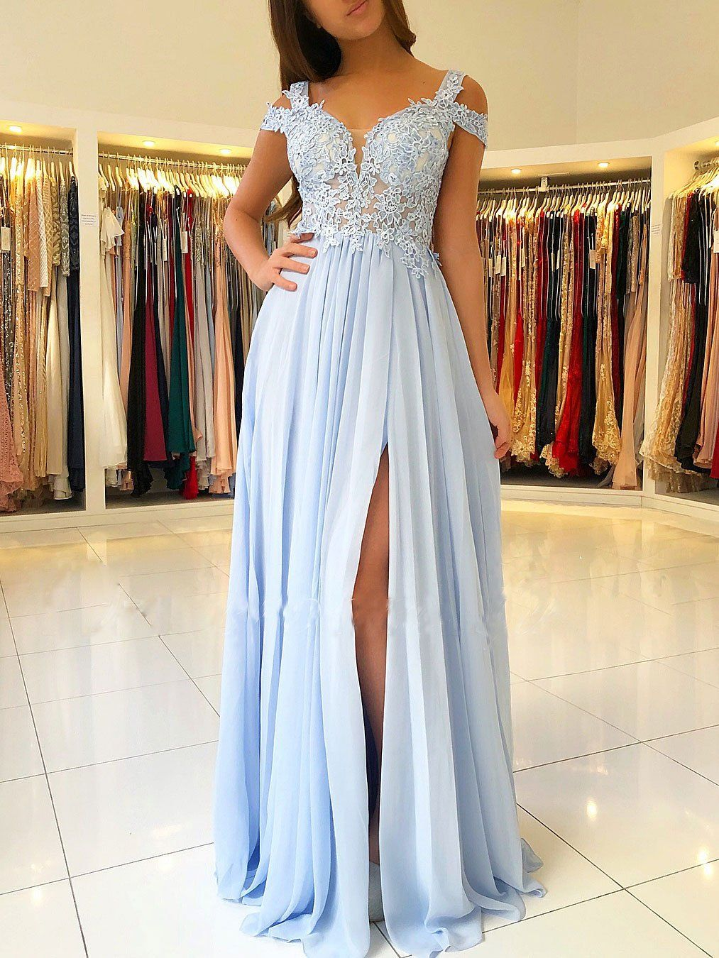 cd4c11930c54 Off the Shoulder Blue Lace Thigh Split Maxi Formal Ball Gown Long Chiffon Prom  Dresses APD3241
