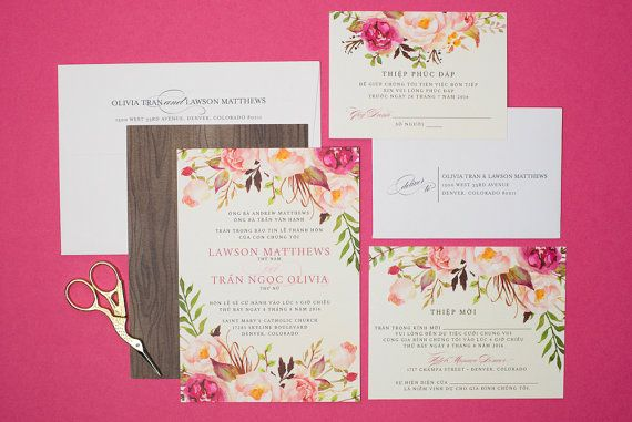 Vietnamese wedding invitation reception and rsvp boho bohemian vietnamese wedding invitation reception and rsvp boho bohemian do it yourself watercolor floral flowers pink green olivia solutioingenieria Images