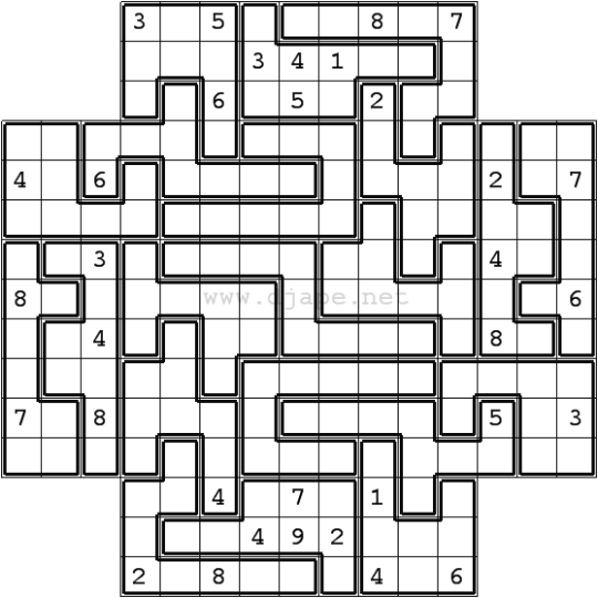 Jigsaw Sudoku in Flower Sudoku overlapping format (5 in 1