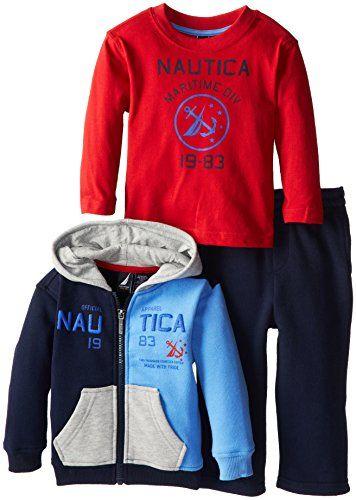 6c045a32f4c9 Nautica Babys Infant 3 Pack Fleece Pant and Jacket Set