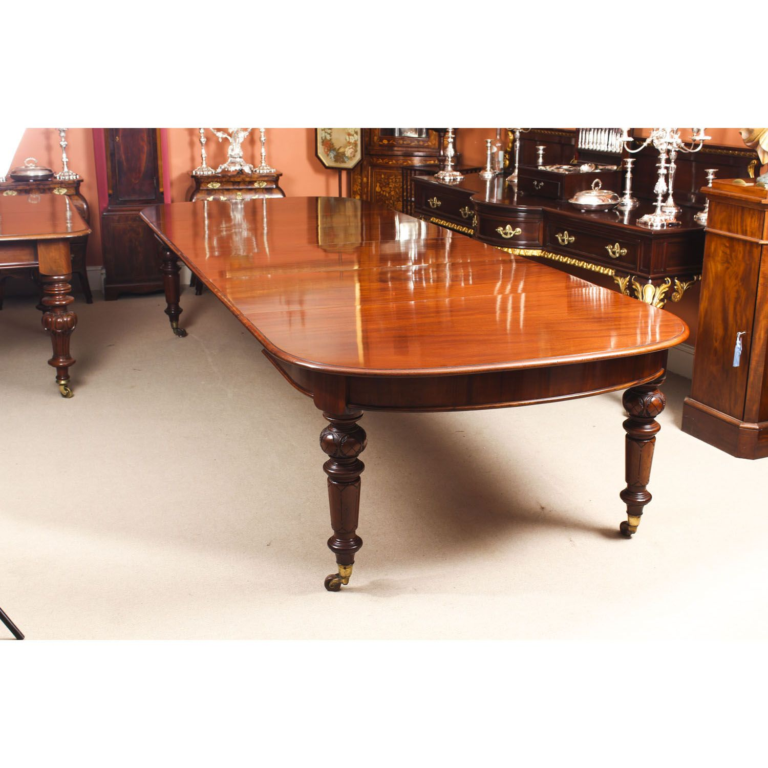 A Magnificent Antique Victorian Solid Mahogany Dining Table Which Can Seat Fourteen Diners Victorian Dining Tables Wood Dining Room Set Extendable Dining Table