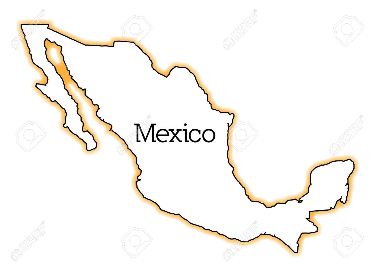 Outline Map Of Mexico Over A White Background Royalty Free